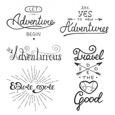 Set of adventure and travel vector lettering for greeting cards, prints and posters.