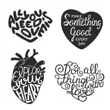 Set of hand drawn typography design element in heart shape