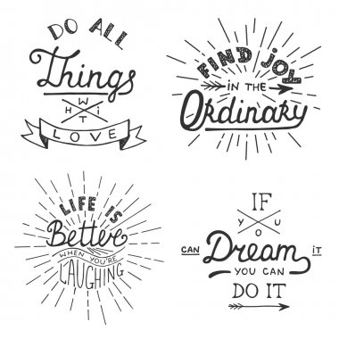 Set of vector inspirational lettering for greeting cards, prints