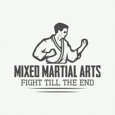 Vintage karate or martial arts logo, emblem, badge, label and design elements.