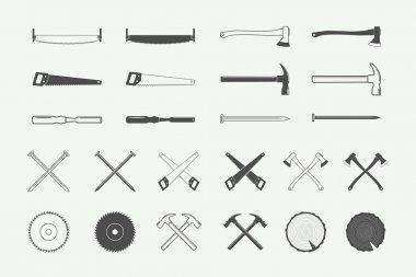 Set of vintage carpentry and mechanic labels, emblems, logo