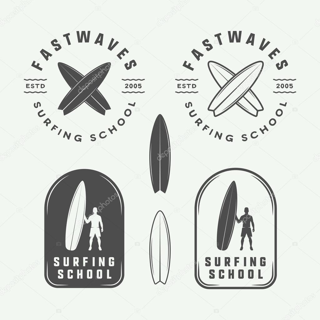 Set Of Vintage Surfing Logos Emblems Badges Labels And Design Elements Stock