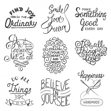 Set of vector inspirational typography slogans for greeting cards