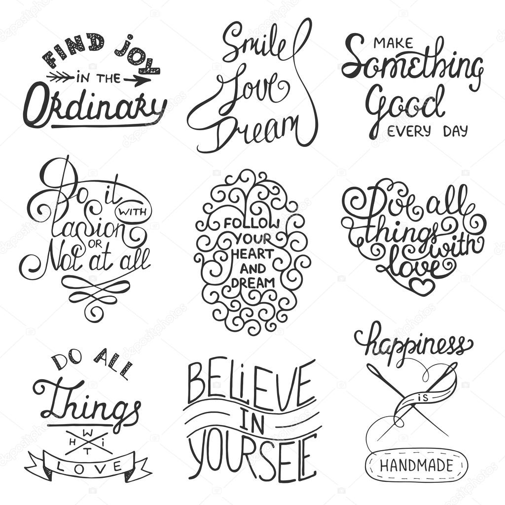 Inspirational Slogans Set Of Vector Inspirational Typography Slogans For Greeting Cards