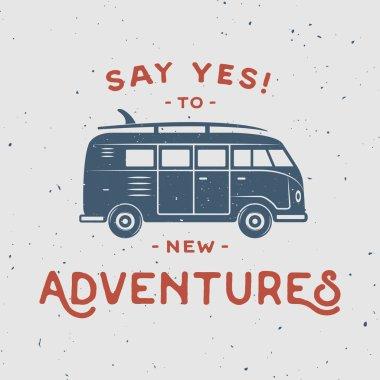 Vintage retro poster with hippie van
