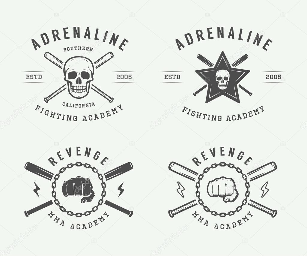 Set of vintage mixed martial arts or fighting club logos, emblem