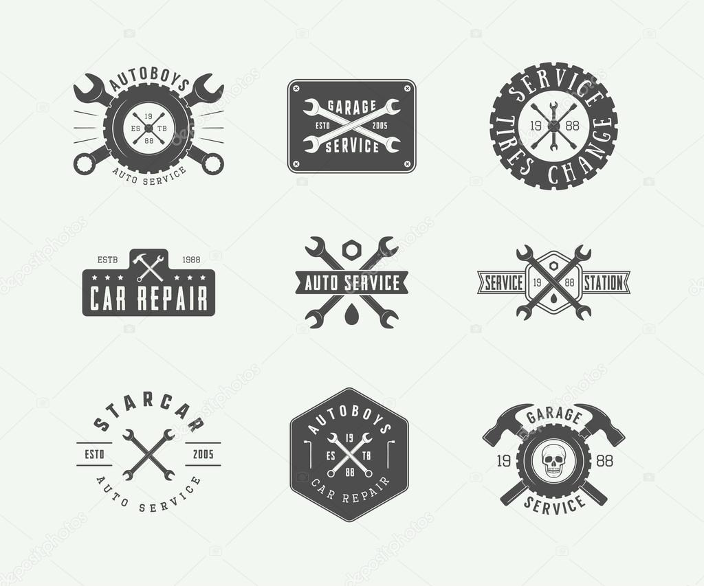 Set of vintage mechanic label, emblem, badge and logo.