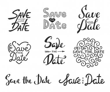Set of vector hand drawn typography design element for greeting cards or invitations. Save the date calligraphy phrases. Unique lettering. Vintage templates. Art isolated on white background. clip art vector