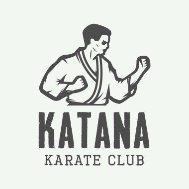 Vintage karate or martial arts logo, emblem, badge, label