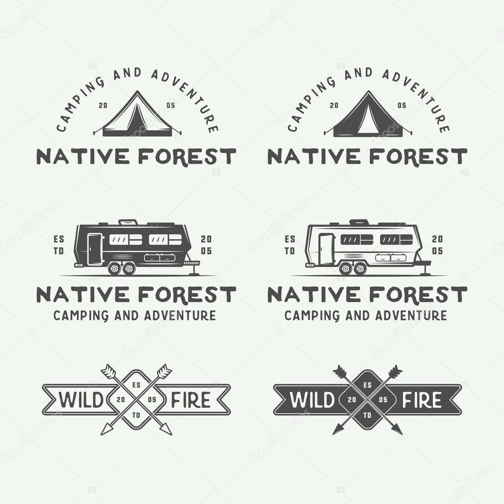 Satz von Vintage camping outdoor und Abenteuer Logos, Abzeichen ...