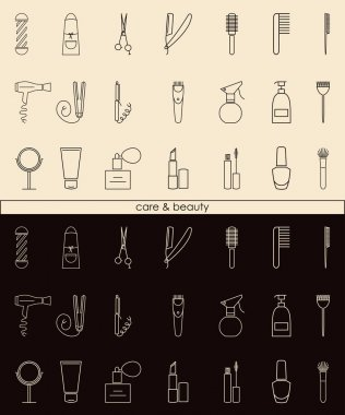 Care&Beauty linear icons for barber shop or beauty salon