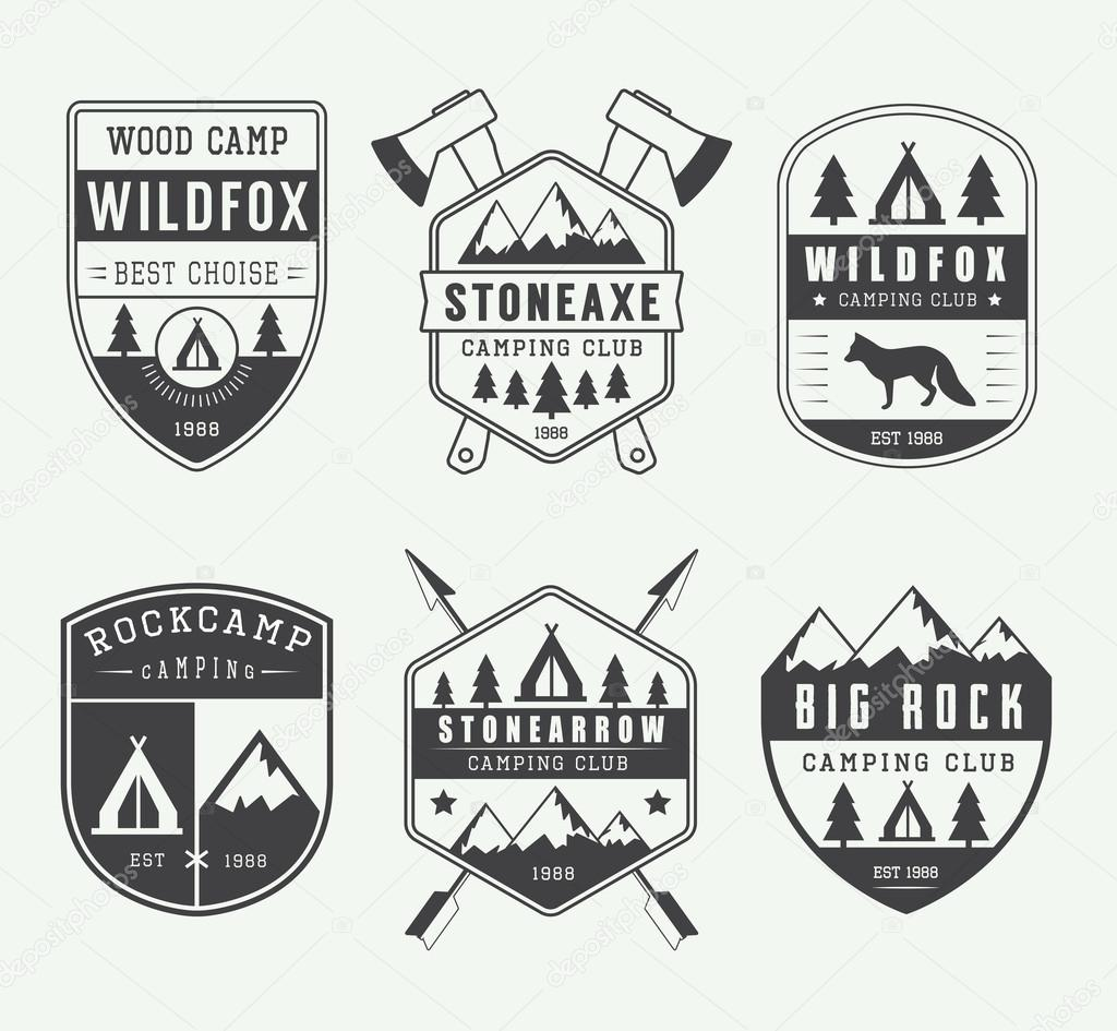 Set of vintage camping labels, badges and logos