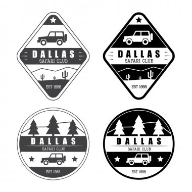Set of safari club logo in vintage style