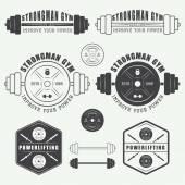 Fotografia Insieme di logo gym, etichette, scudetti ed elementi in stile vintage