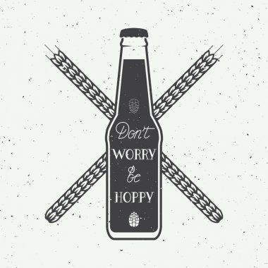 Vintage beer logo with hand lettering fun motivation quote