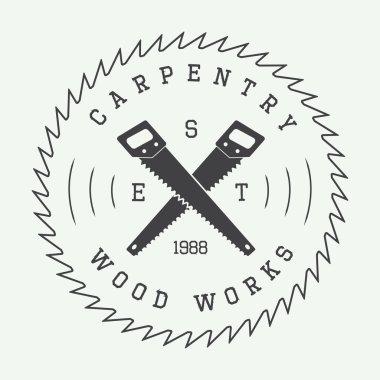 Set of vintage carpentry label, emblem, badge or logo. Vector illustration