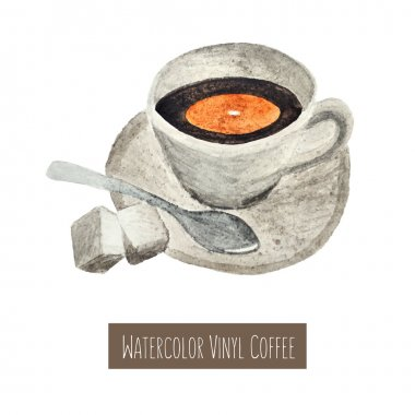 Watercolor hand drawn cup of coffee illustration