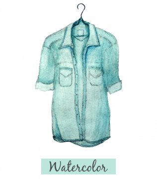 Watercolor hand draw blue denim shirt isolated on white background
