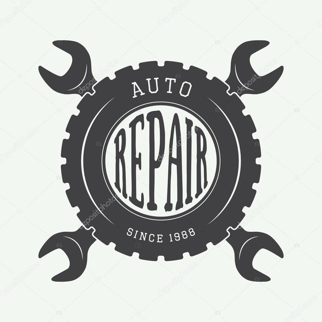 Vintage mechanic label, emblem and logo