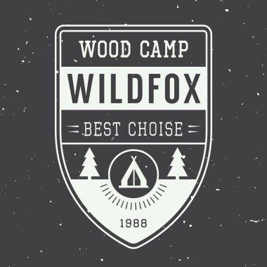 Vintage camping label, emblem and logo.