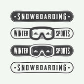 Vintage snowboarding logos, badges, emblems and design elements.
