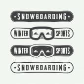 Vintage snowboarding loga, znaky, emblémy a prvky návrhu