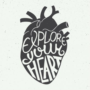 Explore your heart in anatomic heart on vintage background