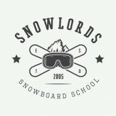 Vintage snowboarding logo, badge, emblem and design elements.