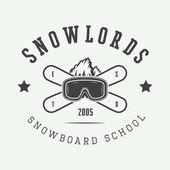 Vintage snowboarding logo, odznak, emblém a prvky návrhu
