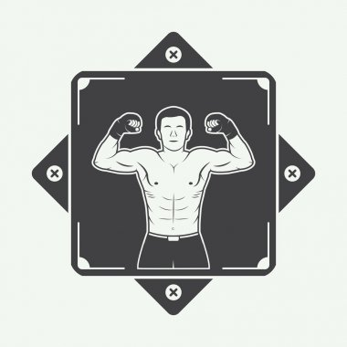 Boxing and martial arts logo, badge or label in vintage style.