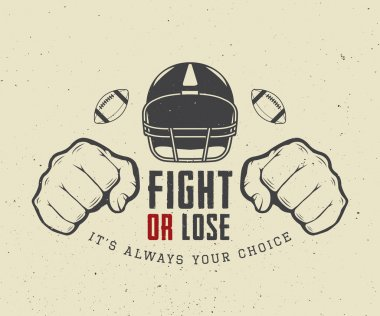 American football or rugby motivation with helm, fists and ball