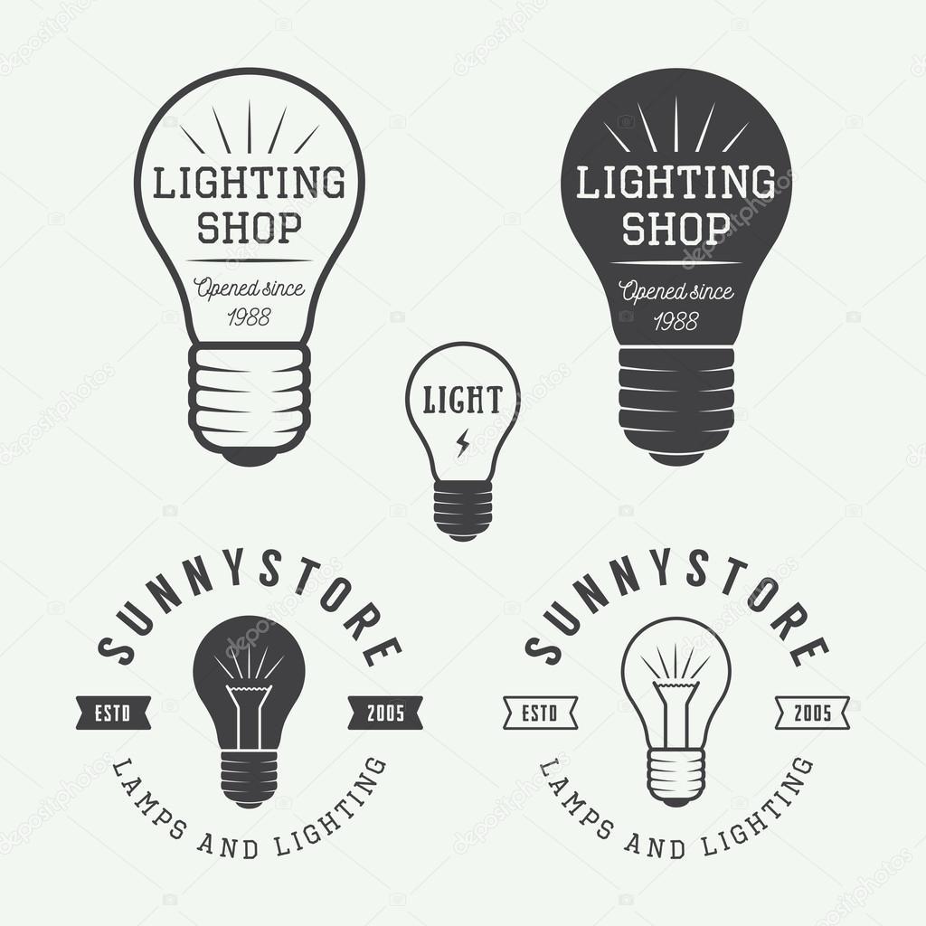 Set of vintage lamps and lighting logo, emblems, badge and desig