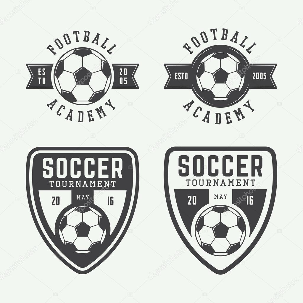 Elegant Set Of Vintage Soccer Or Football Logo, Emblem, Badge. Vector Illustration  U2014 Vector By De_Malia