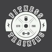 Fotografia Logo palestra in stile vintage. Illustrazione di vettore