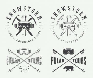 Vintage mountaineering and arctic expeditions logos, badges