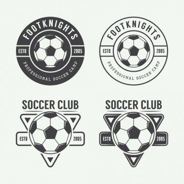 Set of vintage soccer or football logo, emblem, badge.
