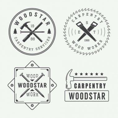 Vintage carpentry or mechanic logo, emblem, badge, label