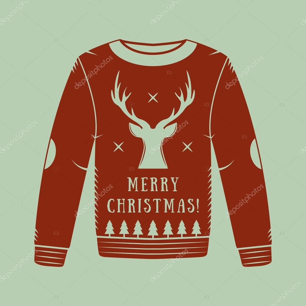 vintage christmas sweater with deer trees and stars in red stock vector