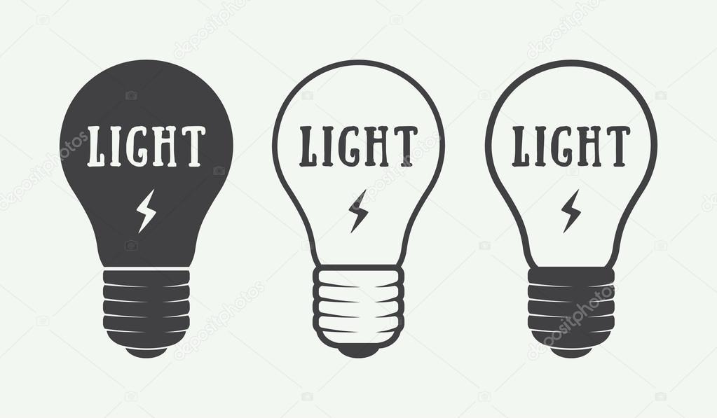 Set of vintage lamps and lighting logo, emblems, badge