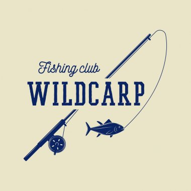 Vintage fishing label, log, badge.
