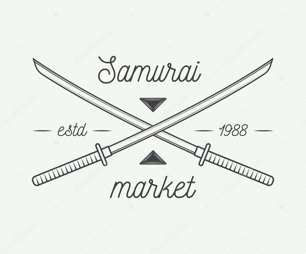 vintage samurai market in retro style can be used for logo