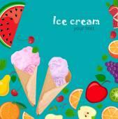 Fotografie Eisbecher und Früchte