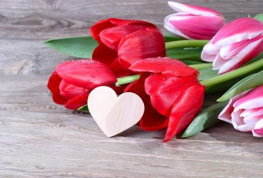 Fresh tulips and heart on a wooden background. Flowers for lovers.