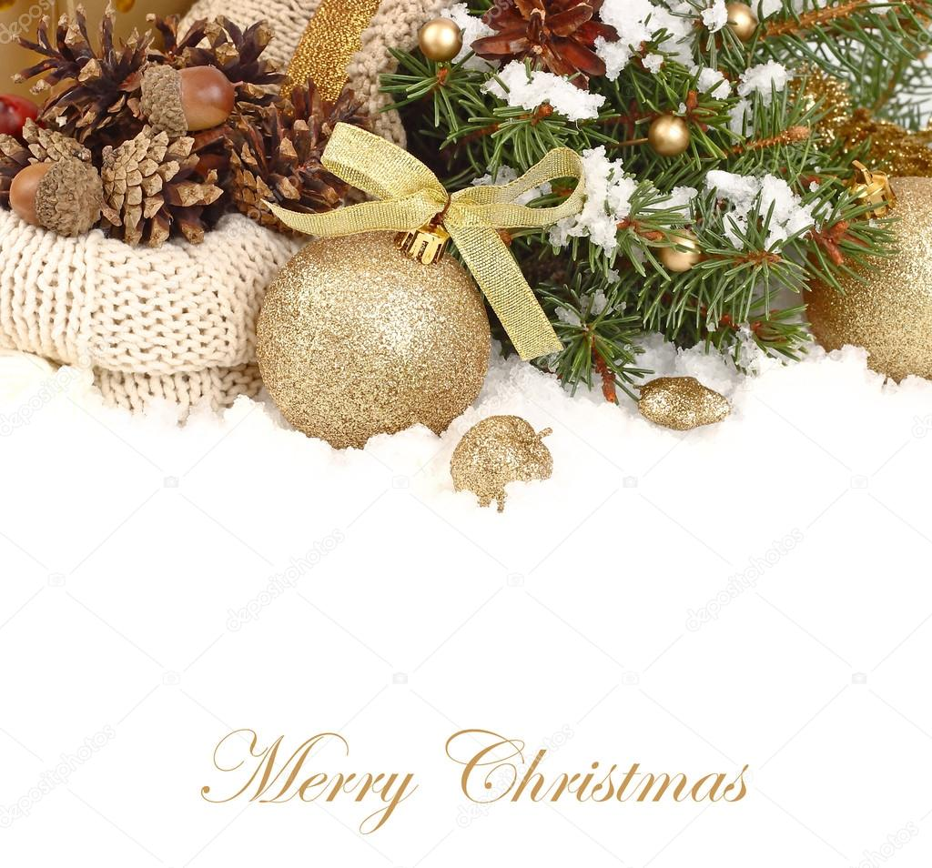 Christmas composition with golden Christmas balls and cones in a knitted sack on branches of a Christmas tree on a white background. A Christmas background with a place for the text.
