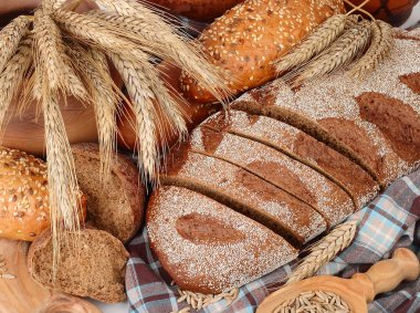 Fresh bread, grain and ears on a checkered napkin on a white background with a place for the text.
