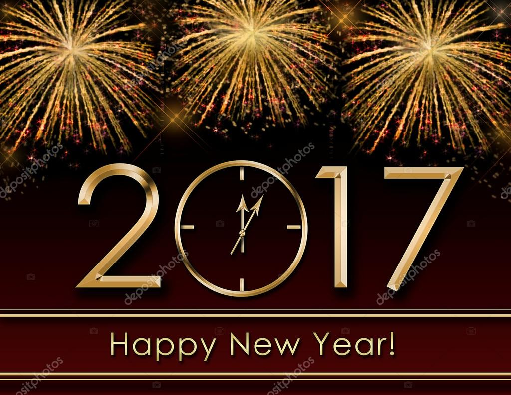 2017 Happy New Year background  with fireworks and gold clock