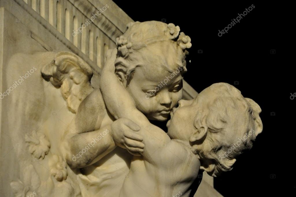 Two angels on the monument to Mozart in Vienna