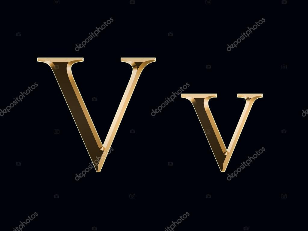 Gold Letter V On A Black Background Photo By SyhinStas