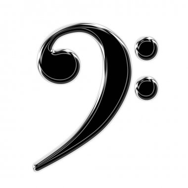 Bass Clef on white background