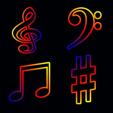 Neon musical notes and keys on a black background